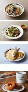 鶏つくねと揚げ野菜の和風サラダ丼(一番上)、クレソンと揚げジャガ芋のサラダ(上から2つ目)、オレンジ八つ橋パンケーキ(下から2つ目)、nicoドーナツ(一番下)