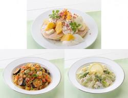 16種類の野菜のパスタ プレミアム豆乳トマトクリーム(前列左)、爽やか!レモンのプレミアム豆乳クリーム仕立て(前列右)、マンゴーとプレミアム豆乳クリームのホットケーキ(奥)