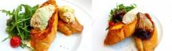 ふわとろフレンチトースト。ツナマヨ(左)、フォアグラ(右)