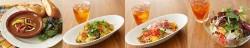左から、チキンマッサマンカレーとフォカッチャのプレート、なすとサルシッチャの黄色いトマトクリームパスタ、彩りトマトとプロシュートの冷製パスタ、海老とアボカドのサラダサンド