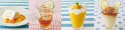 左から、トロピカルフルーツのショートケーキ、ライムアップルティーソーダ、マンゴーとパイナップルのフローズン、ハニーレモンフローズン