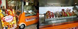 新宿アルタ前に設置されたコールドストーンの移動販売車(左)、冷凍ケースのアイスキャンディ(右)