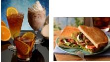 左からオレンジセパレートティー、フレッシュオレンジティー、ココナッツミルク(左)、トーストサンドパンチェッタとマスカルポーネ(右)