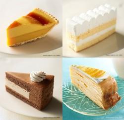 マンゴーミルクレープ(手前右)、バナナムースチョコレート(手前左)、ふんわりチーズケーキ(奥右)、かぼちゃのタルト(奥左)