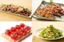 醤油麹に漬けた牛肉のローストサラダ サルサソース(左上)、鯖のトマト塩麹焼き(右上)、ローズヒップ&ハイビスカスの真っ赤なジュレ(左下)、キャベツとムング豆のサラダ(右下)