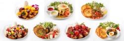 (上段左から)エキゾチック、タワーエッグベネディクト、ハーブバターチキン 、(下段左から)アサイー&フルーツグラノーラ、アクアパッツァ、レッドベルベット、夏野菜のスープカレー