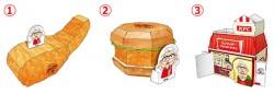 親子でいっしょにつくろう!ケンタッキー屋さんセット(ペーパークラフト編)。「オリジナルチキン」の貯金箱(左)、「チキンフィレサンド」の小物入れ(中央)、「おみせ」のペン立て