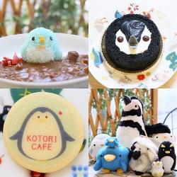 ペンギンカレー(左上)、ペンギンケーキ(右上)、ペンギンクッキー(左下)、ペンギングッズ(右下)