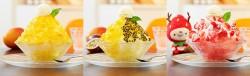 トロピカルアイスマウンテン。左から沖縄産マンゴー、沖縄産マンゴー&パッションフルーツ、長崎県産ゆめのかいちご