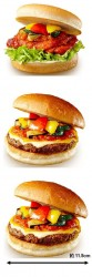ラタトゥイユ仕立てのタンドリーチキンバーガー(上)、ラタトゥイユ仕立ての絶品チーズバーガー(中)、ラタトゥイユ仕立ての絶品チーズバーガーワイド(下)