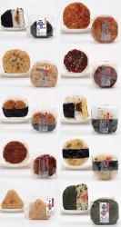 左段上から、コムラのなんばんみそおにぎり、あさりご飯、海老天むす、ソースカツ、かしわ飯。右段上から、会津天宝味噌焼おにぎり、味噌かつ、だし巻玉子(いかなご佃煮入り)、釜たま風竹輪天おにぎり、高菜明太