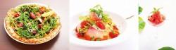 サンタルチア(左)、真鯛と彩り野菜の冷製カッペリーニ(中)、スイカのグラニータ(右)