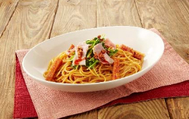 ランチョンミートの食べるラー油スパゲティ