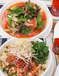 冷製 有機野菜と蒸し鶏のフォー(上)、冷製 ピリ辛タンタンフォー(下)
