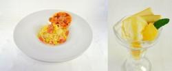 「ヘタリア The World Twinkle」コラボカフェ。同盟組もうよ!イタリアの冷製パスタ&ミニピザセット(左)、ドイツのリンゴパフェ(右)