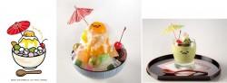 イラストのぐでらっくすかき氷(マンゴーミルク)、ぐでらっくすかき氷(マンゴーミルク)、ぐで抹茶プリン