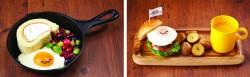 ぐでたまロールケーキ(左)、ぐでたまキッズバーガー(右)