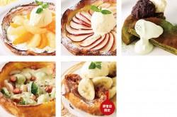 上段左から、ダッチフルーツ、ダッチアップル、抹茶の厚焼きパンケーキ あんこバターのせ、下段左からダッチガーデン、フレンチトースト