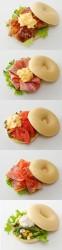 上から、てりやきチキン&エッグ、ベーコン&半熟たまご、半熟たまご&トマト、BLT(ベーコン・レタス・トマト)、ツナと緑野菜