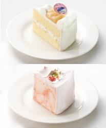川中島白桃のショートケーキ(上)、いちごのシフォンケーキ(下)