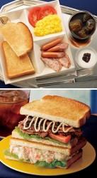 よくばりモーニングプレート ソーセージとタマゴ(上)、トーストサンド ペッパーポークとポテト(下)