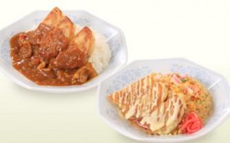 餃子カレー丼(左)、餃子炒飯丼(右)