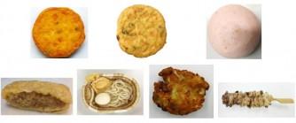 上段左から、豆腐とかぼちゃのさつま揚、国産6種具材のがんも、トマトはんぺん、下段左から、肉いなり、さぬきうどん、キャベツ天、炭火焼鶏ハラミ串