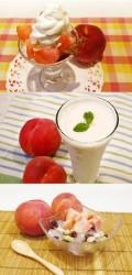 ふくしま満載!桃パフェ(上)、完熟桃のヨーグルトスムージー(中)、桃豆カンテンぽりんぽりん(下)