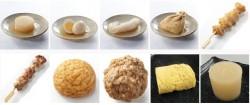 上段左から、ローソンファーム 大根、ヨード卵・光 玉子、国産こんにゃく粉の白滝、国産もち米使用餅入巾着、ぼんじり串。下段左から、炭火焼鶏もも串、山芋入りふんわり揚げ、ごつごつ牛、だし巻き玉子、厚い大根
