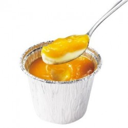 絹ごし杏仁チーズプリン-マンゴーソース