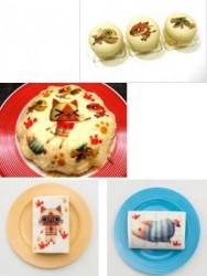 マカロンセット(上段)、ミルクレープ(中段)、ロールケーキ(下段)