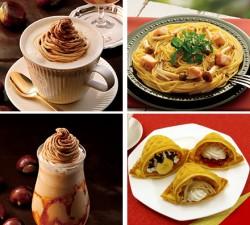 上段左から、イタリアンマロンラテ、グリルチキンときのこのバターソース、下段左から、ソルベージュ イタリアンマロン、もちふわワッフル