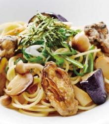 広島産牡蠣と松茸と九条ネギの和風スパゲティ