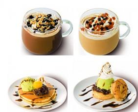 上段左から、クッキーチョコレートモカ、キャラメルナッティラテ。下段左から、バターミルクパンケーキ 抹茶あずき、ビスケットサンド 抹茶あずき