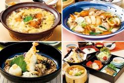 上段左から、松茸ときのこ『うどん雑炊』、松茸ときのこ『あんかけうどん』、下段左から、海老・秋刀魚・舞茸の天ぷら『秋の天おろしそば』、松茸と栗のわっぱご飯『松花堂ご膳』