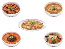 とろとろ肉味噌 担々麺(左下)、七種の野菜麺(右下)、帆立ダシ 五目炒飯(中央)、四川辣油 麻婆豆腐麺(左上)、香味 海老湯麺(右上)