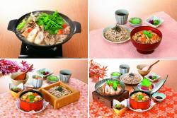 上段左から、きりたんぽ鍋、名古屋コーチン舞茸丼と麺、下段左から、松茸と栗のワッパ定食、秋味和膳