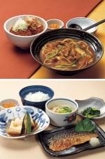 カレーうどん&たれカツ丼セット(上)、焼きサバの和みランチ(下)