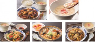 上段左から広島産牡蠣と秋ナスのマーボ、蟹と湯葉の豆乳スープ、下段左から広島産牡蠣の広東焼そば、広島産牡蠣の刀切麺、広島産牡蠣の黒チャーハン