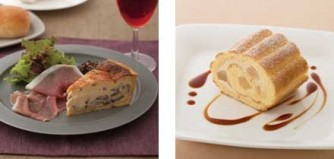 ゴルゴンゾーラときのこのキッシュ・プレート(左)、洋梨とキャラメルクリームのロールケーキ(右)