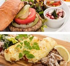 大豆のハンバーガープレートと大豆のおつまみ 3種プレート