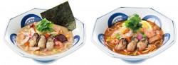 左から、かきちゃんぽん(みそスープ)、かきちゃんぽん(トムヤンクン風スープ)