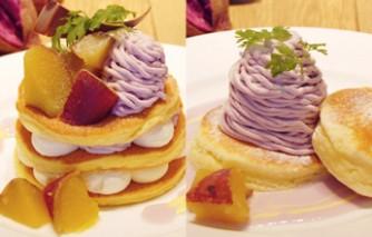 紫芋パンケーキ(左)、紫芋スコッキー(右)