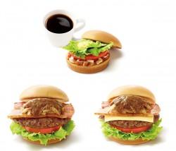 モスのモーニングバーガー ローストチキンゆず風味(上段)、とびきりハンバーグサンド「傑作ベーコン」(下段左)、とびきりハンバーグサンド「傑作ベーコン」スライスチーズ入り(下段右)