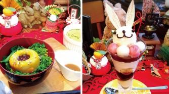 自家製濃厚かぼちゃのムースとチキンブイヨンで煮込んだあったか七草粥(左)、正月限定 あんみつうさぎリエジョア(右)