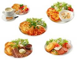 チーズフォンデュ(上段左)、チェダーチーズ&クラムチャウダー(上段右)、ポークリブのトマト煮込み(中段)、アメリカンステーキ(下段左)、スパムサンド(下段右)