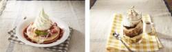 苺とホワイトチョコのパンケーキ~ソフトクリーム添え(左)、瓶詰めパフェ チョコナッツグラノーラ(右)