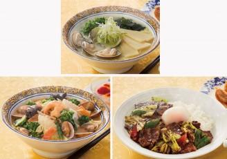 ハマグリと春タケノコの白湯麺(上)、海鮮三種とたっぷり国産野菜の味噌ラーメン(下段左)、三元豚もち豚のホイコー飯(下段右)