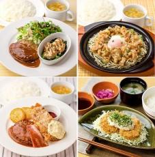 上段左から、ハンバーグドミソース&てりマヨチキン、豚肉と野菜の甘辛生姜炒めランチ。下段左から、ハンバーグ&チキン南蛮ランチ、おろしひれかつ定食ランチ