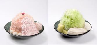 桜ミルクかき氷(左)、メロンかき氷(右)